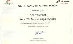 Awards Certificate of Appreciation From PHE baruna cert tempoa oilspill phe